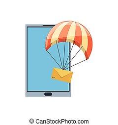 spadochron, poczta, smartphone, koperta