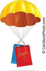 spadochron, torba, zakupy, żółty
