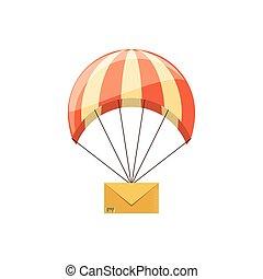spadochron, wysyłać pocztą kopertę