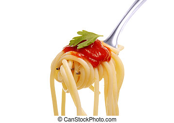 spaghetti, widelec