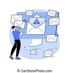 spam, illustration., wektor, pojęcie, abstrakcyjny