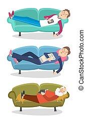 spanie, sen, leżanka, mężczyźni, litera, stary, młody mężczyzna, osoba, wektor, sofa, illustration.
