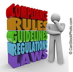 spełnienie, reguły, wskazówki, prawny, regulamin, myśliciel