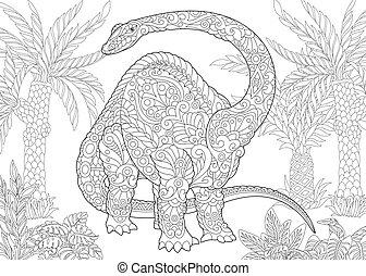 species., brontozaur, dinosaur., wygasły