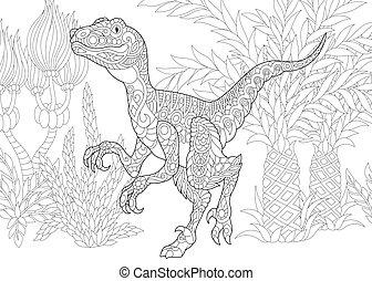 species., dinosaur., velociraptor, wygasły