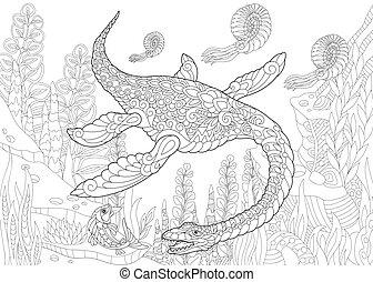 species., dinosaur., wygasły, plesiosaurus