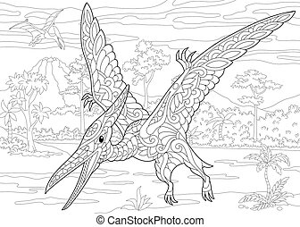 species., pterodaktyl, dinosaur., wygasły