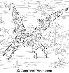 species., pterodaktyl, wygasły, dinosaur.