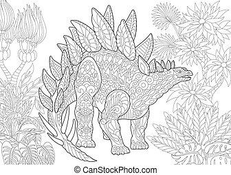species., stegozaur, dinosaur., wygasły