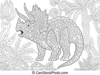 species., triceratops, dinosaur., wygasły