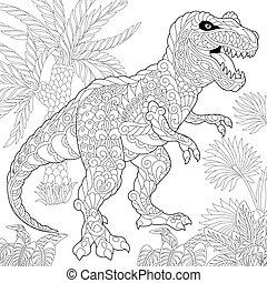 species., tyrannosaurus, wygasły, dinosaur.