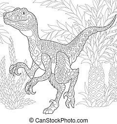 species., velociraptor, wygasły, dinosaur.