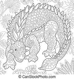 species., wygasły, ankylosaurus, dinosaur.