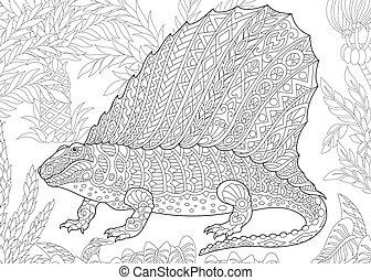 species., wygasły, dinosaur., dimetrodon
