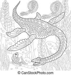 species., wygasły, dinosaur., plesiosaurus