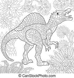 species., wygasły, dinosaur., spinosaurus