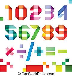 spectral, -, barwa, fałdowy, ilustracja, papier, wektor, takty muzyczne, arabszczyzna, wstążka, liczebniki