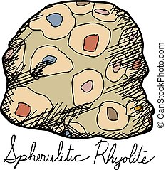 spherulitic, riolit, odizolowany, rysunek