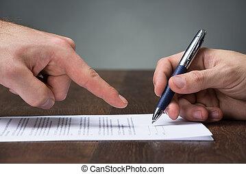 spoinowanie, biurko, porozumienie, znak, biznesmen, towarzysz