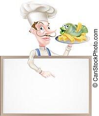 spoinowanie, fish, znak, mistrz kucharski, dzierżawa, drzazgi