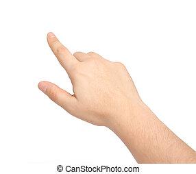 spoinowanie, odizolowany, ręka, dotykanie, coś, samiec, albo