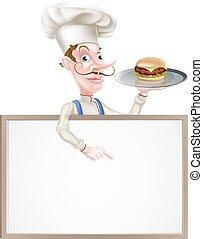 spoinowanie, znak, hamburger, mistrz kucharski