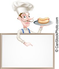 spoinowanie, znak, mistrz kucharski, dzierżawa, rysunek, hotdog