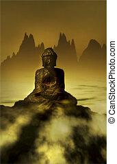 spokojny, asian-inspired, krajobraz