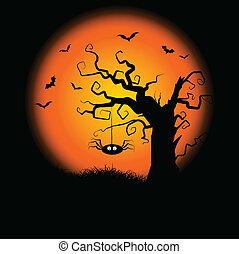 spooky, halloween, drzewo, tło