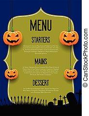spooky, halloween, projektować, menu