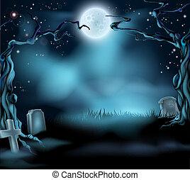 spooky, halloween scena, tło