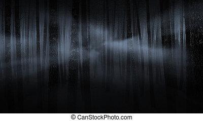 spooky, las, mglisty, noc