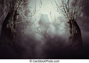 spooky, mgła, czarownica dom