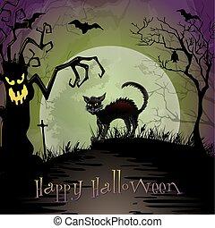 spooky, noc, halloween scena, kot