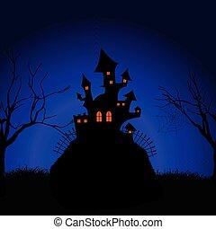 spooky, zamek, halloween, 2909, tło