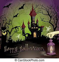 spooky, zamek, halloween scena, noc