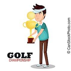 sport, golf, mistrzostwo, ikona