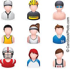 sport, -, ludzie, ikony