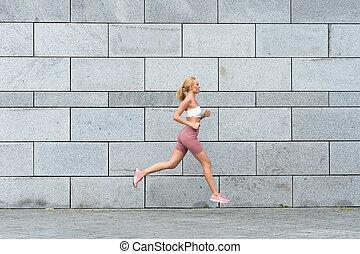 sport, sport., activities., fizyczny, trzym!ć, trening, outdoors., kazania, store., mając na sobie, pasaż, fitness., terapia, sportsmenka, sexy, wyścigi, towary, cieszący się, ruchomy, forward., mój