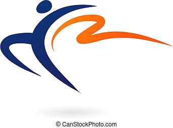 sport, -, wektor, gimnastyka, figura