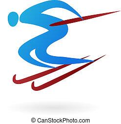 sport, -, wektor, narta, figura