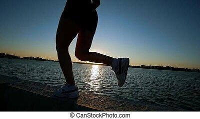 sportowy, blisko wody, wyścigi, kobieta, młody