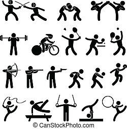 sportowy, gra, domowy, sport, ikona
