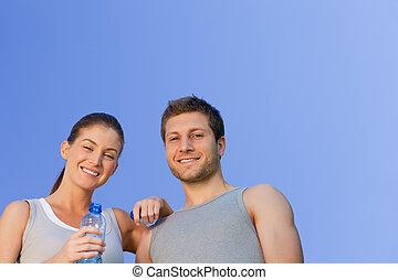 sporty, para, szczęśliwy