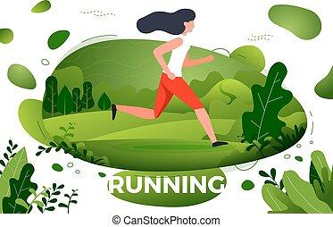 sporty, park, -, ilustracja, wyścigi, wektor, dziewczyna
