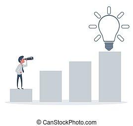 sposobności, biznesmen, handlowy, horyzont, ideas., nowy, rewiduje