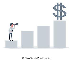 sposobności, biznesmen, handlowy, profits., horyzont, nowy, rewiduje