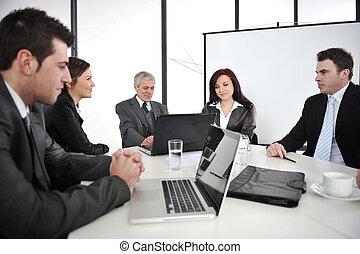 spotkanie, businesspeople, handlowy, posiadanie