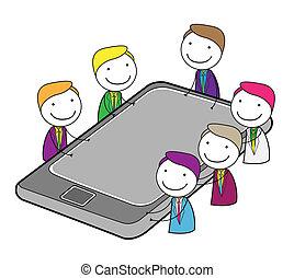 spotkanie, grupa, online