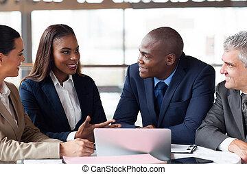 spotkanie, grupa, posiadanie, handlowy zaludniają